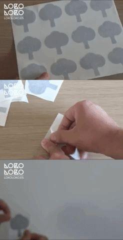 Tres sencillos pasos para aprender cómo pegar vinilos decorativos pequeños: 1. Separa las piezas 2. Dale la vuelta a la silueta o pieza de vinilo y despega el papel siliconado 3. Situa el vinilo en la pared y pégalo así de facil  #lokolokodecora