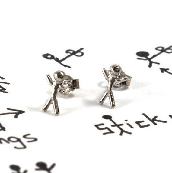 Stickman earrings sterling silver studs unisex by Akatergasto
