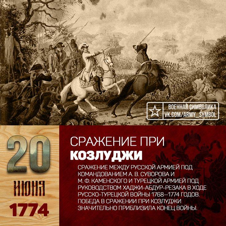 20 июня 1774 года во время русско-турецкой войны 1768—74 гг. у болгарского селения Козлуджа 14-тысячный корпус под командованием А. В. СУВОРОВА разбил турок под командованием АБДУЛ-РЕЗАКА (около 40 тысяч человек). Кампания 1774 года главной задачей имело наступление на Шумлу, где располагалась ставка великого визиря. На Шумлу были отправлены резервный корпус под командованием Суворова (14 тысяч человек при 14 орудиях) и дивизия Каменского (10 850 человек при 23 орудиях). Дивизия Каменского…