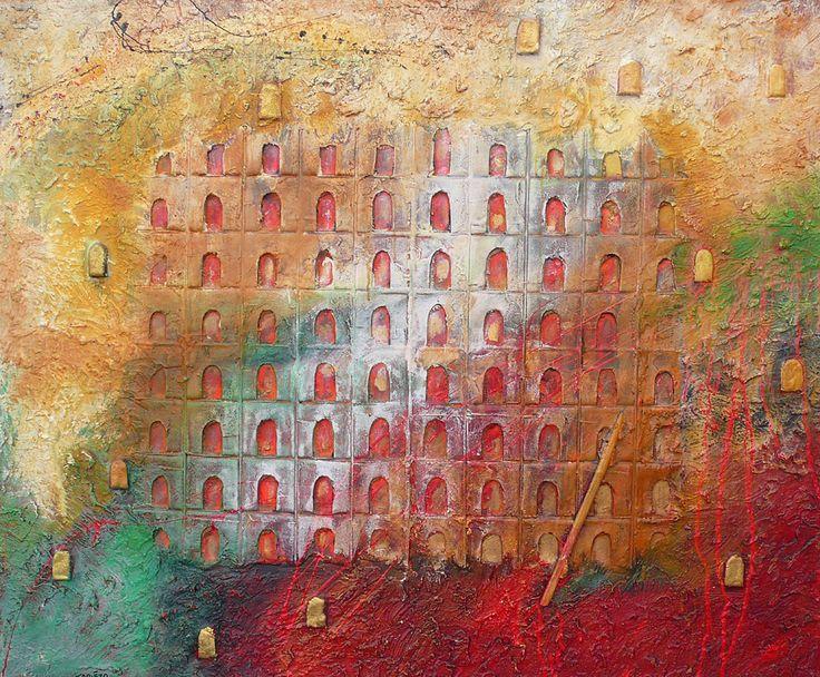 Elévation à Manhattan, Colisée, arène, opéra de portes ouvertes. Noblesse et richesse architecturale. Une grande sérénité se dégage des peintures de matières. Le peintre français Tapiézo propose l'image sereine, la force des matières travaillées et des couleurs changeantes grâce aux pigments. Tapiézo réveille en nous l'envie d'imaginer et le désir de liberté. Découvrir les architectures de portes. Technique mixte sable, acier, pigment naturel sur toile à Roussillon en Provence.
