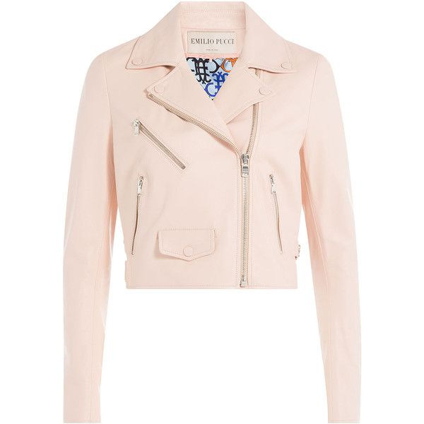 Emilio Pucci Cropped Leather Biker Jacket (24,955 CNY) ❤ liked on Polyvore featuring outerwear, jackets, rose, pink biker jacket, moto biker jacket, pink motorcycle jacket, genuine leather jacket and real leather jacket