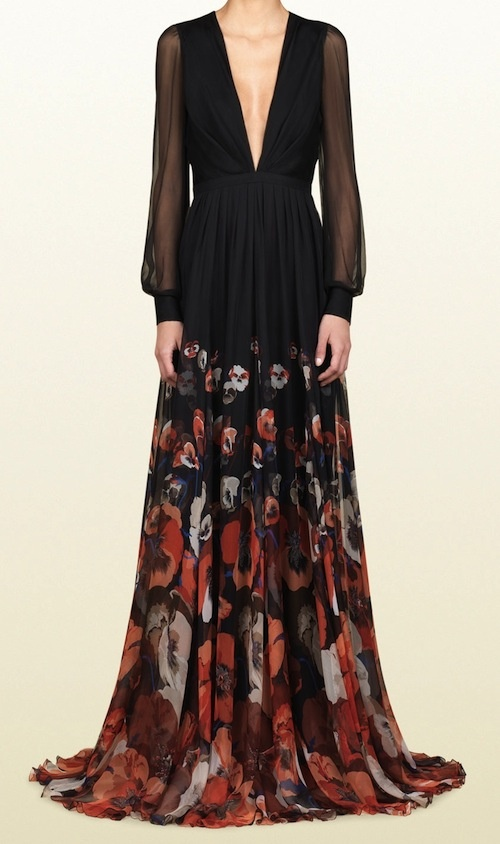 Gucci Oshibana Print Belted Gown
