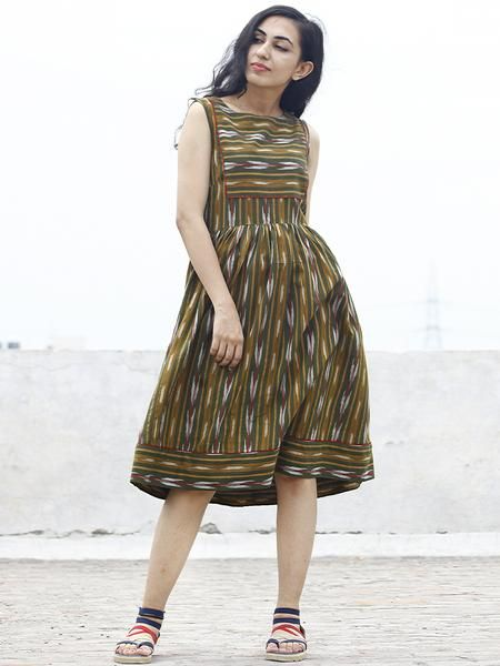 Olive Green Mustard Maroon Ivory Ikat Sleeveless Dress With Gathers & Side Pockets -  D68F742