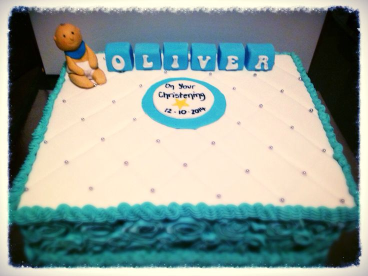 Boys christening cake. Fondant and butter cream with gum paste figurine.