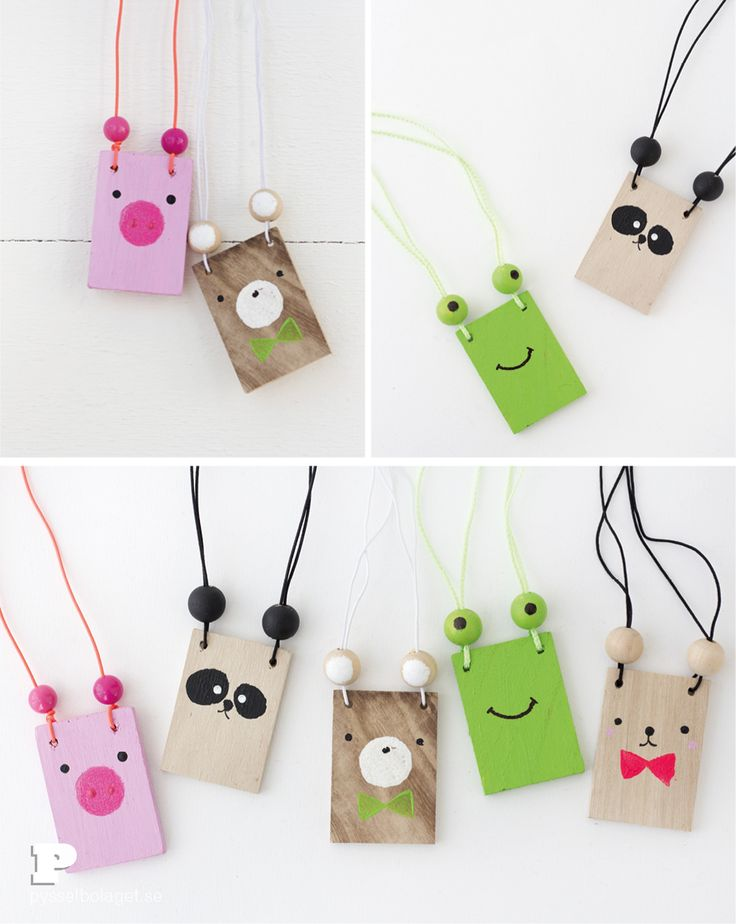 DIY: for these soooo cute and funny Animal necklaces - in Swedish - but pics tell enough to understand without written language