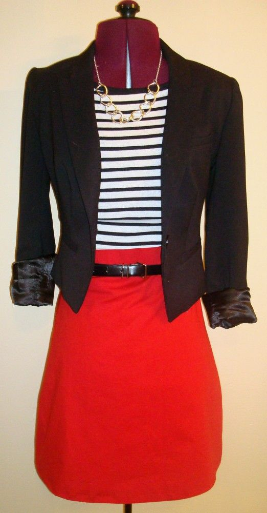 : Fashion, Idea, Style, Red Pencil Skirts, Work Outfits, Black Blazers, Red Skirts