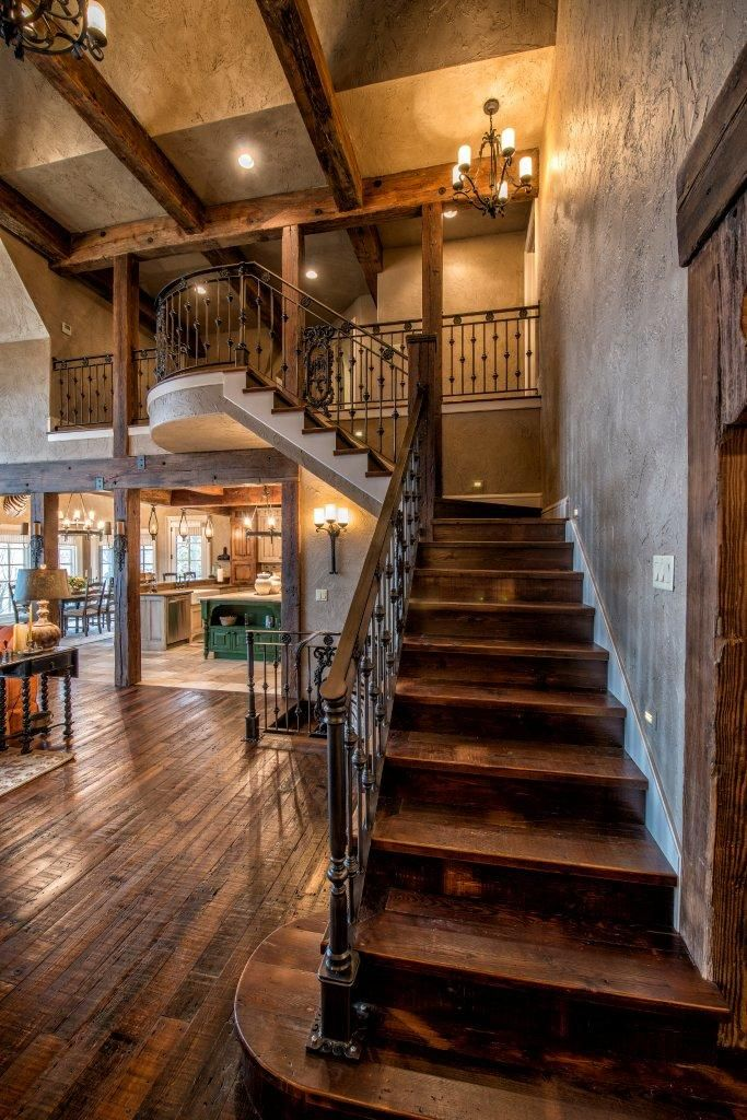 Lake Cottage Style: Beautiful Staircase With Dark Walnut Wood And Black  Iron Stair Rails/banister. Layout Of Kitchen/dining With Living Zone,  Staircase And ...