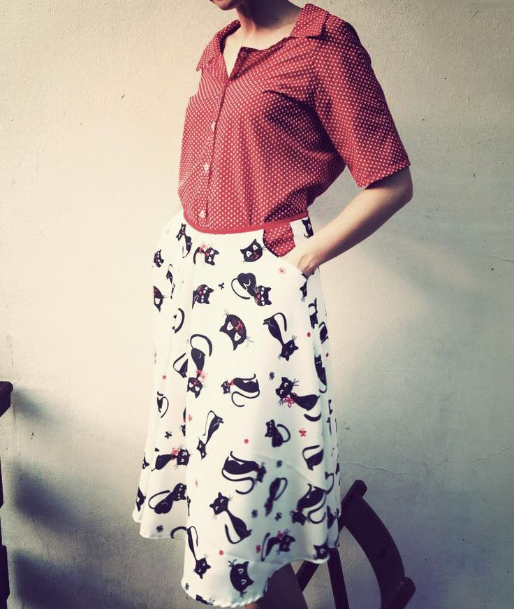 Unique cat skirt, half circle, with cotton petticoat and little side pockets + shirt made of the same fabric - red cottn with white polka dots. Beutiful and comfortable to wear with unmistakable vintage style. www.facebook.com/puffkanadsue