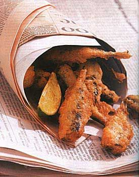 Beer-Batter-Fried Sardines and Lime