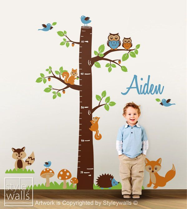 Maggie, this would look great on your upstairs hall wall.  And all three's records would fit.         Woodland Animals Personalized Growth Chart Nursery Vinyl Wall Decal Kids Nursery Vinyl Wall Decal Baby Room Decor Fox Owls Racoon Squirrels. $95.00, via Etsy.