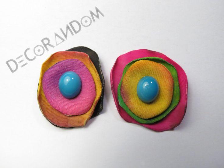orecchini di stoffa riciclata fiore colorato con perla di vetro turchese  of2 di decorandom su Etsy