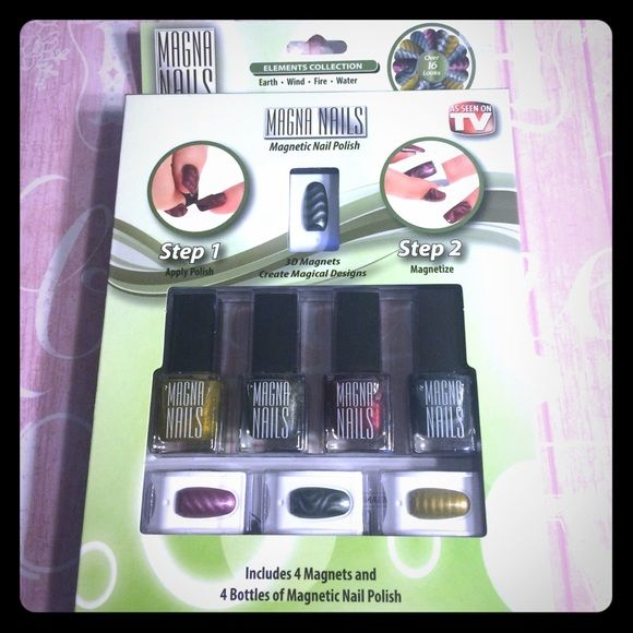 New as seen on tv magna nails magnetic nail polish New as seen on tv magna nails magnetic nail polish 3D magnets create magical designs in only 2 easy steps includes 4 magnets and 4 bottles of magnetic nail polish Magna nails Other