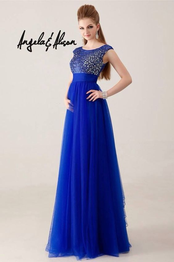 Vestido largo azul rey vestidos