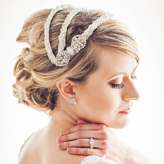 Beaded Vintage Inspired Bridal Headpiece by ChantillyLaceDesigns, $320.00