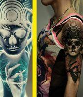 czaszka tatuaż na ramieniu 2