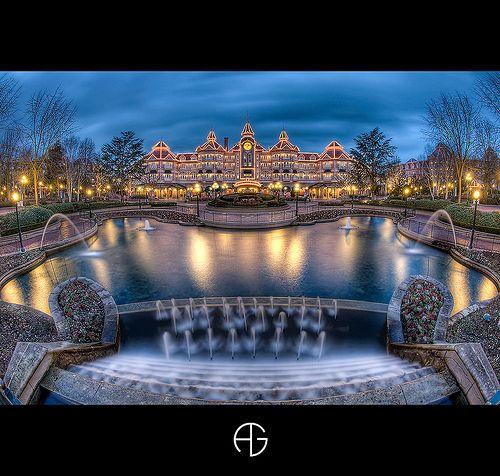 Disneyland hotel by dark shot from the fantasia gardens at Disneyland Paris #DLRP #DLP #Disney