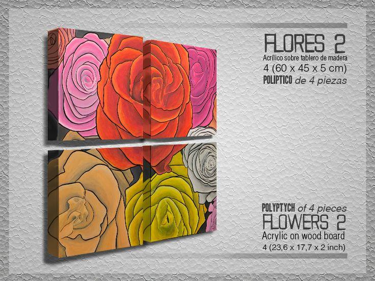 Flores 2.- POLIPTICO de 4 piezas