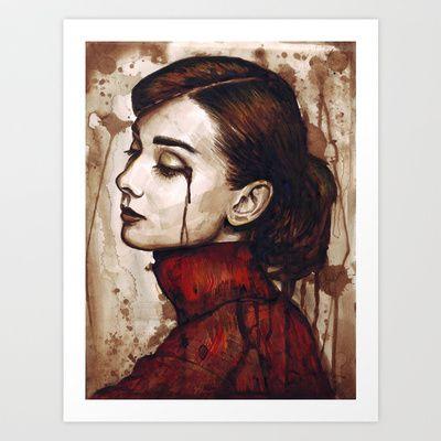 Audrey Hepburn | Quiet Sadness Art Print by Olechka - $14.56