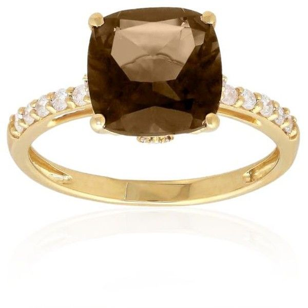 Belk Co. Smokey Quartz Smokey Quartz And Diamond Ring In 10K Yellow... ($435) ❤ liked on Polyvore featuring jewelry, rings, smokey quartz, smoky quartz jewelry, smoky quartz ring, cushion cut smoky quartz ring, gold diamond jewelry and smokey quartz ring