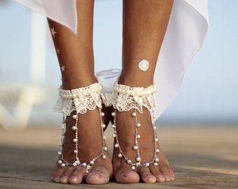 Colorful Hawaian flower barefoot sandal beach wedding by FULYAK