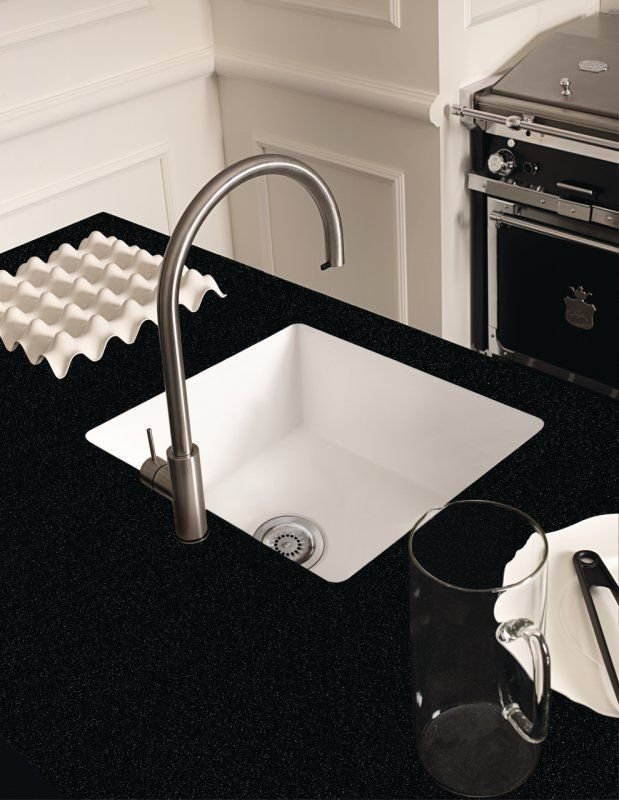 Corian Neat Sink 859 In Glacier White With Deep Night Sky