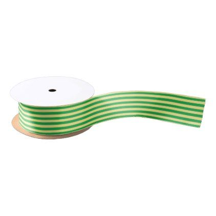 Soft Yellow and Green Stripes Satin Ribbon - patterns pattern special unique design gift idea diy