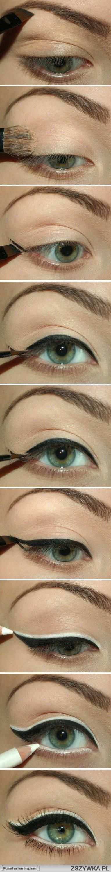 Wing tipped eyeliner with black and topped with white line, different #eyes #makeup