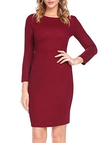 Plunge Kleid Damen Langarm Knielang Festliches Kleider Elegant Weinrot Gr.  XL 5788030420