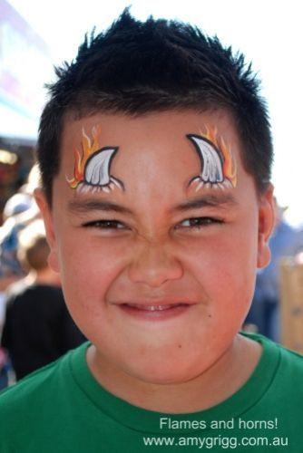 flaming horns... cool. face paint boys face paint facepaint face painting #facepainting