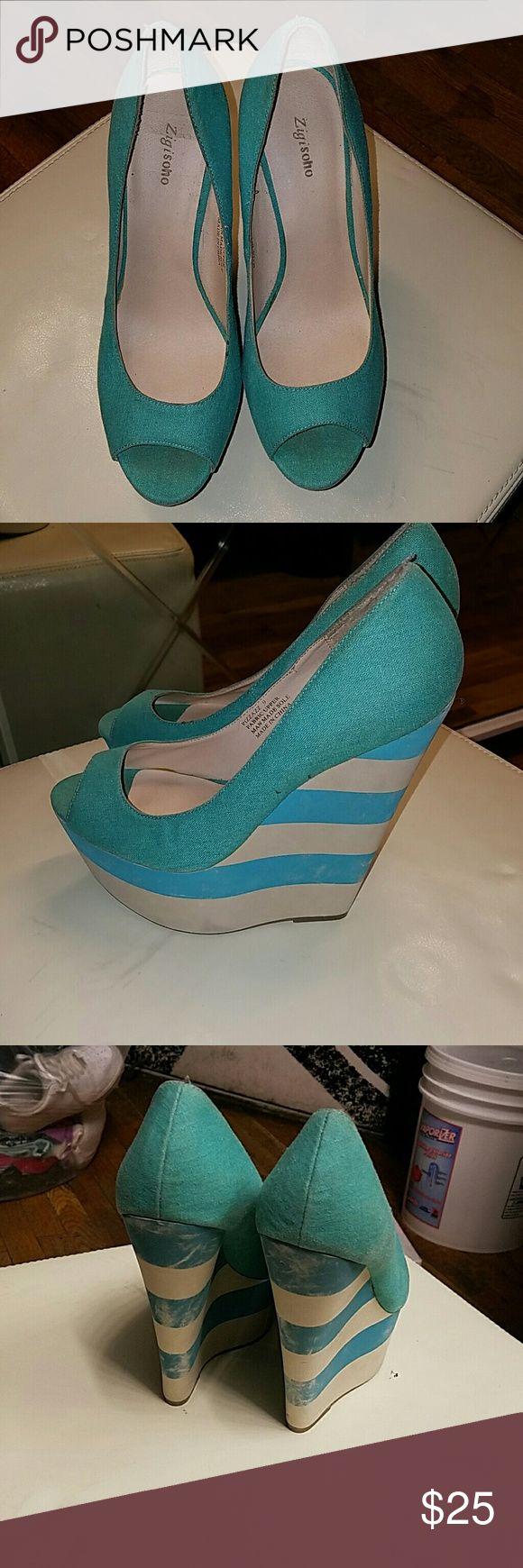 Shoe Turquoise green wedge shoe Zigi Soho Shoes Wedges
