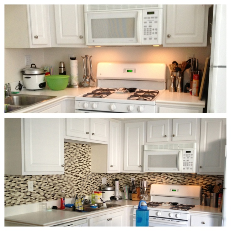For those renting a place or in my case living in military housing... And can't do permanent changes... But would like to have more character in your home... More specifically the kitchen... Here is a DIY backsplash. No grout needed and it's so easy! Here I used smart tiles to complete this beautiful back splash to add more color and give thee illusion of a bigger kitchen. Smart tiles are wonderful, easy and they just STICK right on. I bought these at Home Depot in a pack of 12 for $74.00.