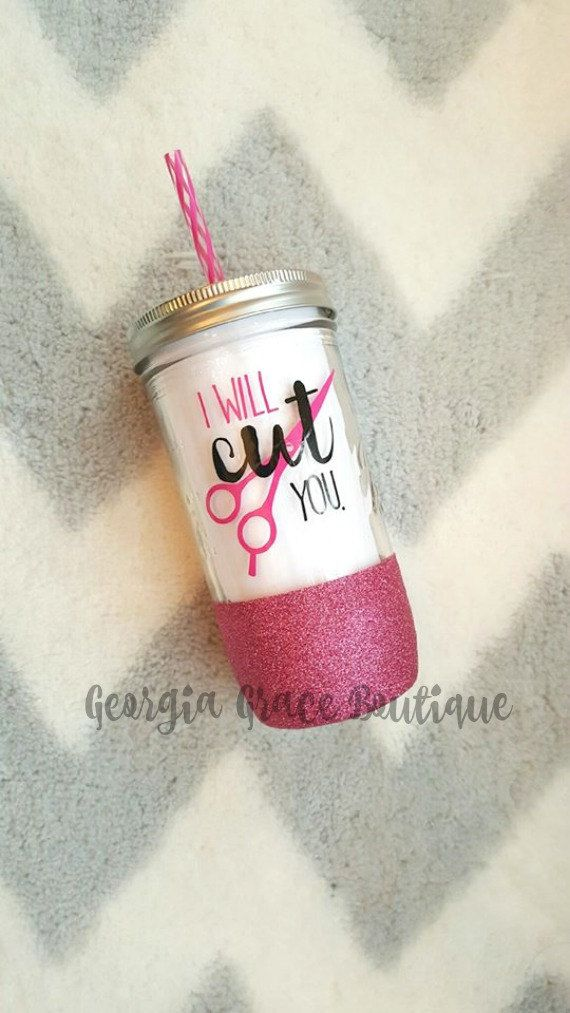 This I will cut you glitter dipped mason jar tumbler the perfect gift for any hair stylist or cosmotologist! Personalized with the phrase I