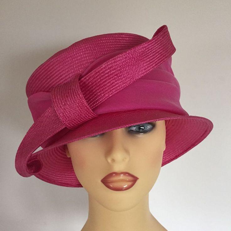 Ladies Occasion Wedding Races Mother Bride Hat Shocking Pink Seeberger Germany