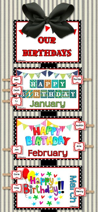 Clip chart for birthdays.  Also includes travel plans clip chart and several informational signs.  Perfect for your black & red themed room.  $