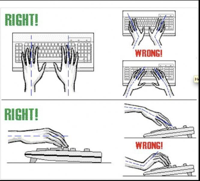 Right Typing Position for the Wrist 1. Keyboard tray has Negative tilt, that is,…
