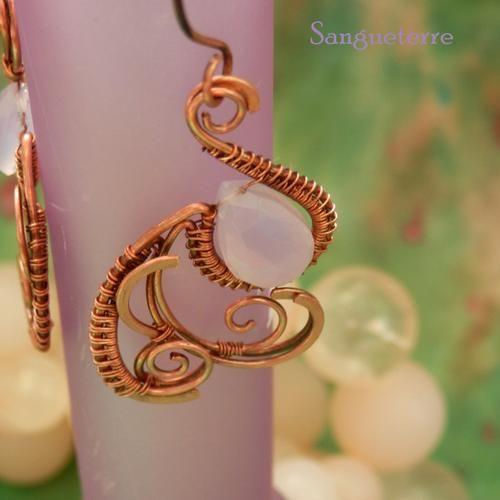 Txori * pink bird earrings * wirewrapping * wirewrapped * jewelry * copper * romantic * fantasy * fairy * elf * fairytale * magic * art nouveau * handmade