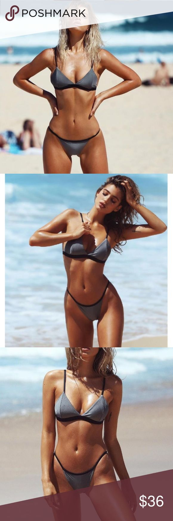Chic Gray and Black Brazilian Bikini Gray and Black Brazilian Bikini.                              Measurements-                                                                                        Small: Bust-78/83cm & hip-87/93cm (A/B cup).          Medium: Bust-83/98cm & hip-93/98cm (B/C cup) Swim Bikinis