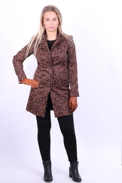 More & More Womens S/M Jacket Coat Brown Circles Pattern Cotton Long - RetrospectClothes