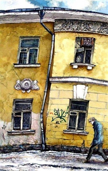 Четыре окна в Сверчковом переулке   Москва. Живопись Алены Дергилевой.