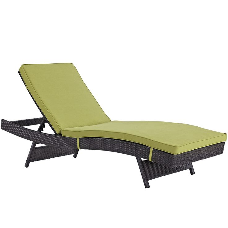 Plutus Brands MF1691 Outdoor Patio Chaise, Espresso Peridot. Modern Outdoor Chaise Lounge Synthetic Rattan Weave Machine Washable Cushion Covers Powder Coated Aluminum Frame Water & Uv Resistant. Machine Washable Cushion Covers. Material: synthetic rattan weave, powder coated aluminum; cushion density is 24KG/M3.