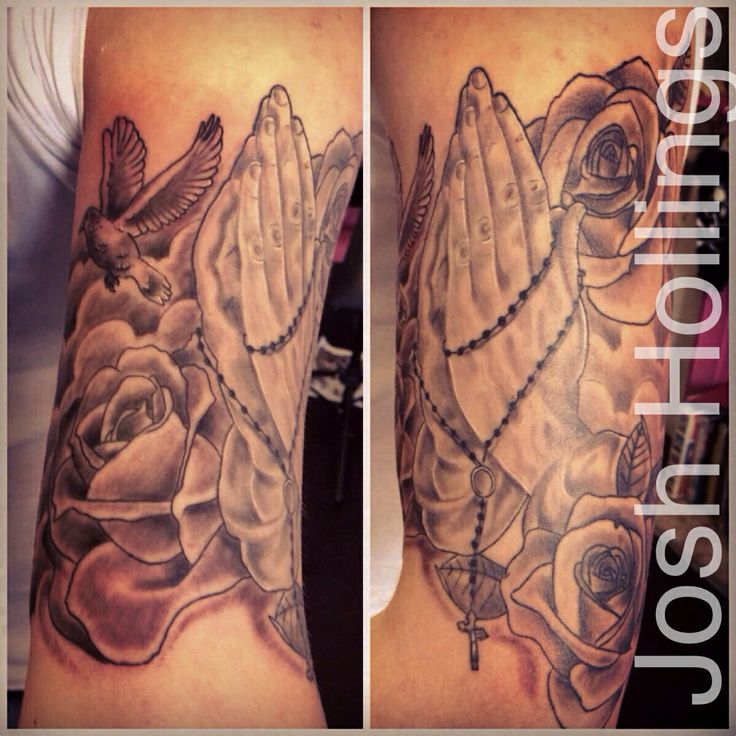 Religious tattoo, praying hands, rosary beads, roses and a ...  Religious tatto...