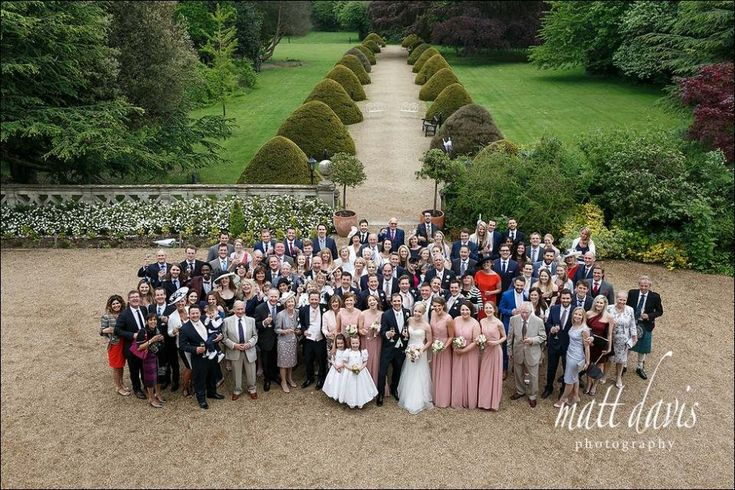 Large wedding group photos at Manor By The Lake wedding venue Gloucestershire