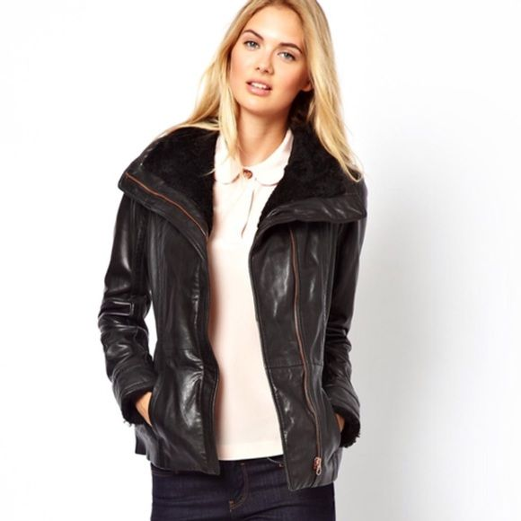Ted baker shearling collar black leather jacket 1 Brand new Ted baker shearling collar black leather jacket 1 ❌ sorry no trades - price is firm even if bundled ❌ Ted Baker Jackets & Coats