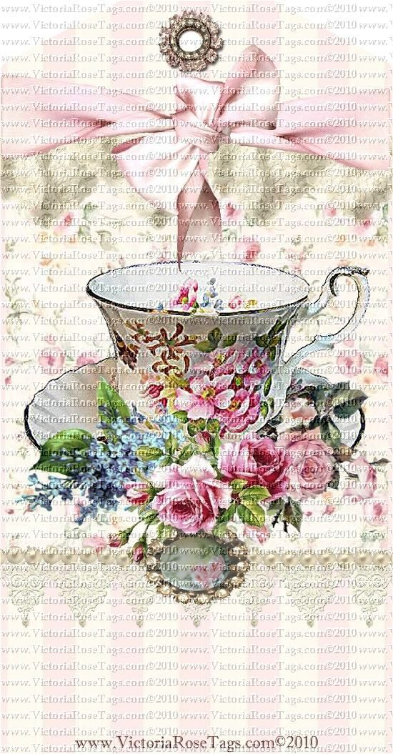 A Victoria Rose Cottage Teacups & Roses Set 1* Our original & exclusive digital printable hang tags - you decorate and embellish and print as many as you wish for personal use.  Sold Exclusively at Victoriarosetags.com
