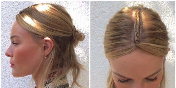 Make a tiny French braid toward your forehead. Finish the braid where your hairline stops on your forehead, and make two sections by splitting the third strand of the braid. Secure the braid with a small bobby pin. Push the pin up the middle of the braid as flat to the head as possible. Split the unbraided ends of hair around your face to create framing.