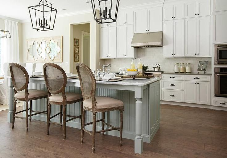 Charming Gray Green Beadboard Kitchen Island Is Accented