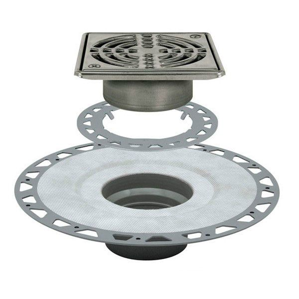schluter kerdi drain kit 6 square stainless steel grate pvc flange with 3 drain outlet qty