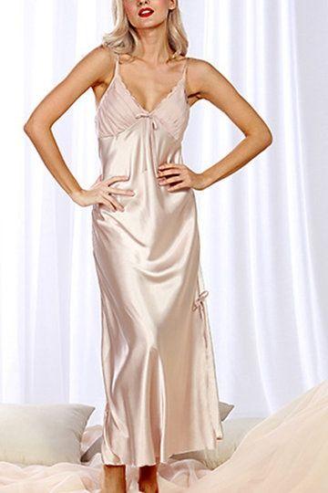 YOINS: Camel Splited V-neck Maxi Pajama Dress £15.02