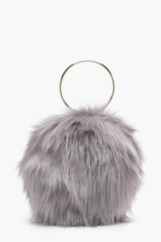 6524eb85f1 Isobel Double Ring Faux Fur Clutch - Affordable Bags and Purses for Women -  Boohoo  bags  fur  circle  purse