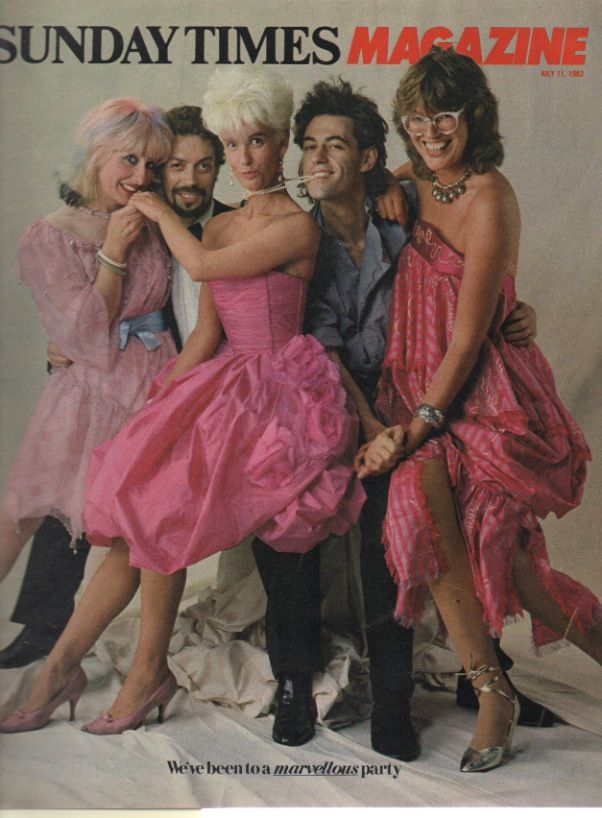 Tim Curry with Paula Yates and Bob Geldof, Sunday Times Magazine, 11 Jul 1982